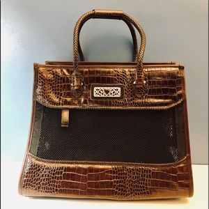 Brighton Croc Leather Pet Carrier Weekend Tote Bag